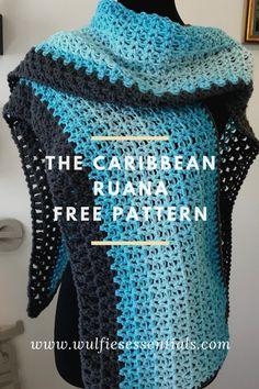 The Caribbean Ruana Pattern – WulfiesEssentials Kimono Pattern Free, Crochet Wrap Pattern, Crochet Flower Patterns, Knitting Patterns, Free Pattern, Crochet Roses, Poncho Patterns, Crochet Angels, Crocheted Flowers