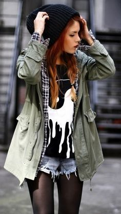 Hat ~ Coat ~ Plaid Shirt ~ Yin Yang Tee ~ Denim Shorts ~ Tights ~ Grunge ~ Style ~ Fashion