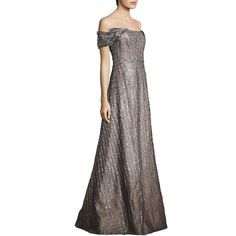 RENE RUIZ Off-The-Shoulder Sequin Gown ($1,675) ❤ liked on Polyvore featuring dresses, gowns, apparel & accessories, off the shoulder evening gown, sequin gown, circle skirt, a line gown and off shoulder dress