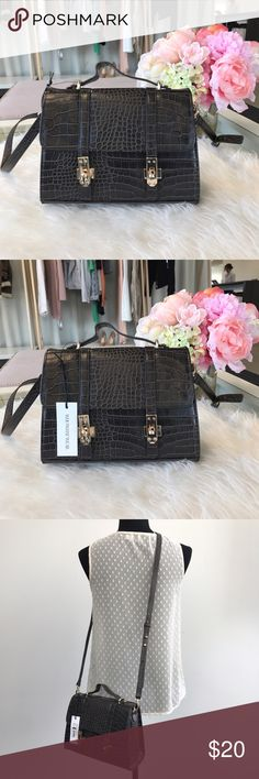 Who What Wear cross body bag Chocolate brown faux reptile print cross body bag. Gold hardware detail. Flap closure and top handle. Never used. Slight indenting on top handle Who What Wear for Target Bags Crossbody Bags