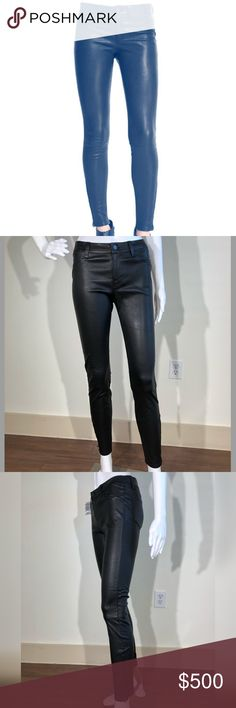 """J BRAND Leather Super Skinny Pants, Noir 27 J Brand Jeans lambskin leather pants.     Approx. measurements: 9"""" front rise, 28"""" inseam, 36"""" outseam, 10"""" leg opening.     Four-pocket style.     Rise sits below the natural waist.     Fitted though skinny legs.     Zip detail at outside ankles.     Button/zip fly; belt loops.     Dry clean.     Imported.  RETAIL $998.00  BRAND NEW NEVER WORN!  I also have a 26, see other listing! J Brand Pants Skinny"""