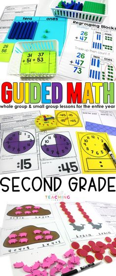 A full year of math curriculum for second grade. Each 2nd grade unit contains 20 days of detailed and differentiated lesson plans, activities, games, & cards for your guided math whole group & small group lessons & an assessment.  Included:  number representations to 1200, place value, add & sub strategies, double & triple digit, time & measurement, geometry & fractions, money & personal financial literacy, graphs & data, multiplication & division.  Learn more at…