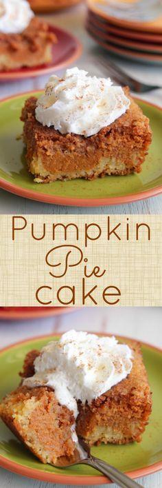 Pumpkin Pie Cake - The BEST Pumpkin dessert EVER.  Layers of flavor.