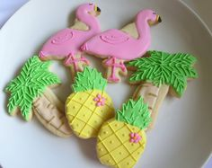 Tropical Cookies, Luau Cookies, Florida Cookies, Tiki, Party Favors, Flamingo, Pineapple, Palm Tree, Birthday Favors, Baby Shower favors