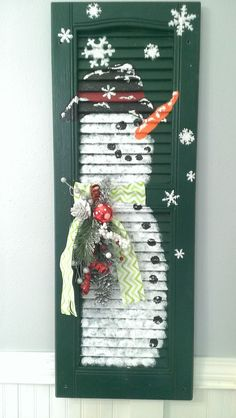 Shabby Chic Shutter SNOWMAN Holiday Christmas by ThreeTwigsDesigns