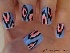 ikat print nail art
