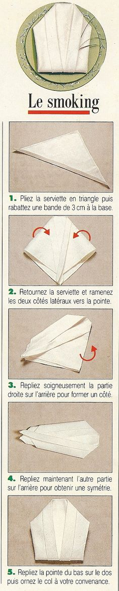 Pliage de serviettes en forme de smoking Deco Table Noel, Etiquette And Manners, How To Fold Towels, Fabric Origami, Napkin Folding, Dinner Napkins, Diy Weihnachten, Plate Sets, Napkin Rings