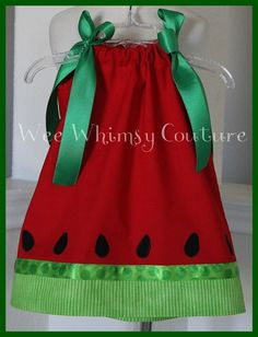 Custom NEW Spring Summer Watermelon dress by weewhimsycouture~must make for Izzie Sewing Kids Clothes, Sewing For Kids, Baby Sewing, Doll Clothes, Little Girl Dresses, Girls Dresses, Watermelon Dress, Sweet Watermelon, Pillow Dress