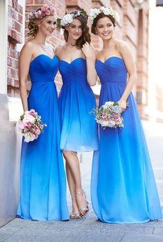 Vestido curto e longo degradê em azul
