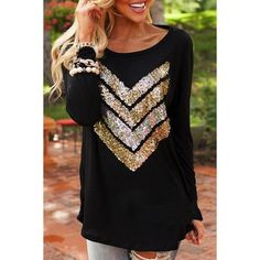 Fashion Chevron Sequin Pattern Tee OASAP.COM ($13) ❤ liked on Polyvore featuring tops и t-shirts