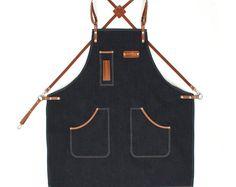Barista Apron, Indigo Denim with Honey Brown Leather Strap Apron by KustomDuo