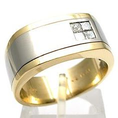 ESTATE MENS PRINCESS CUT DIAMOND WEDDING BAND RING SOLID 14K GOLD & PLATINUM  to match my wedding ring hmm