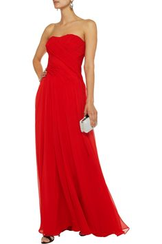 Badgley Mischka Pleated silk-georgette gown | THE OUTNET