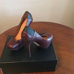 """L.A.M.B. Brown Leather Pumps Almost New Beautiful Brown Leather Pumps!  Style is Batista -5"""" heel platform toe.  In perfect condition! L.A.M.B. Shoes Heels"""