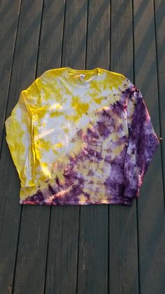 Use coupon code PIN10 during checkout to receive 10% off your purchase!  Tie Dye Shirt! Check out this item in my Etsy shop https://www.etsy.com/listing/209412784/tie-dye-shirt-purple-and-yellow-long