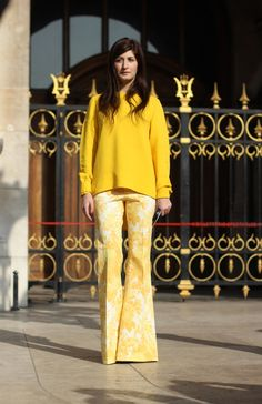 #ValentinaSiragusa #yellow #jumper #pants #mode #moda #women #paris #look #streetstyle #streetview #street #style #offcatwalk on #sophiemhabille