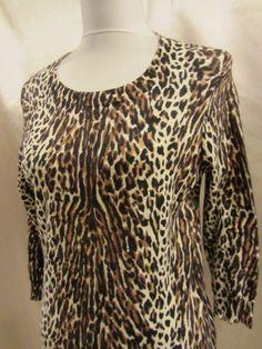 J Crew size Medium Sweater Pullover Top Animal Leopard Brown Black Rockability #JCrew #Crewneck