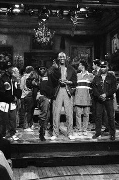 Public Enemy along with Michael Jordan, Spike Lee, and the 1991 cast of SNL