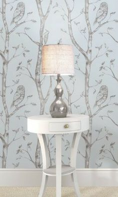 The wallpaper is just gorgeous and the lamp is so pretty! Super cute idea for a nursery or any room decorated with grays. #rustic #farmhouse #walldecor #wallpaper #homedeoor #kidsroom #affiliate
