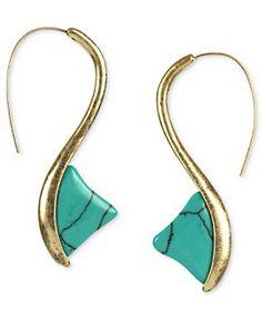 RACHEL Rachel Roy Earrings, Worn Gold-Tone Turquoise Stone Thorn Drop Earrings