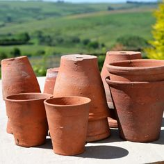 Vintage hand thrown plant pots add real texture and style. A story to tell with every one. www.into-the-garden.co.uk