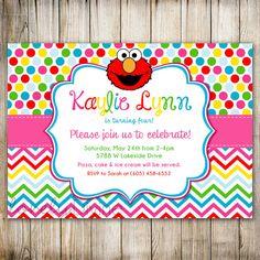 ELMO Rainbow Birthday Invitation, Sesame Street, Dots, 1st Birthday Invitation, 2nd Birthday Invitation, 3rd, 4th, 5th 6th, 7th, PRINTABLE