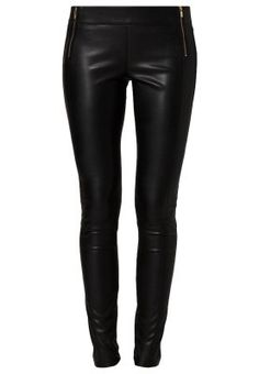 SALAIRY - Leather trousers - black