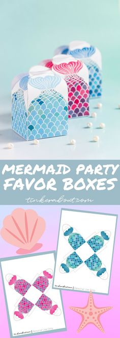 Planning a mermaid themed birthday party for your child? These FREE Printable Party Favor Boxes will be a great addition to your mermaid party! Mermaid Party Favors, Mermaid Theme Birthday, Mermaid Parties, Birthday Party Favors, Mermaid Crafts, Birthday Crafts, Crafts For Girls, Party Printables, Free Printables