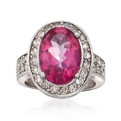 C. 2000 Vintage 6.60 Carat Pink Topaz and .95 ct. t.w. Diamond Ring in 14kt White Gold. Size 6.5