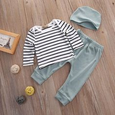 3 PCS Newborn Autumn Baby Girl Clothes Cotton Long Sleeve Striped T-shirt+pants +hat Suit Baby Clothing Sets Infant Clothing Baby Baby, Baby Kind, Baby Set, 2 Piece Outfits, Girl Outfits, Casual Outfits, Outfits For Baby Boys, Baby Clothes For Boys, Dress Outfits