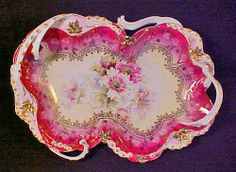 "RS Prussia Rosebud Steeple Mold 7 Fancy 14"" 2 Handle Magenta Pink Redtray 