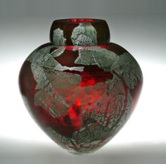 """""""Gold Ruby Emperor Bowl""""  Art Glass Vase  Created by Randi Solin  Free blown art glass vase, hand shaped. Colored with gold ruby frit and a multi-layering of sterling silver foil. Cut and polished lip. Each piece is unique; pattern and size will vary.  http://www.artfulhome.com/product/Art-Glass-Vase/Gold-Ruby-Emperor-Bowl/38400#"""