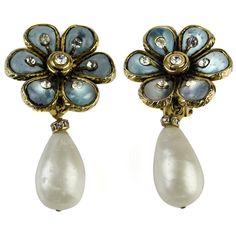 Chanel Vintage Floral Pearl Drop Earrings   1stdibs.com