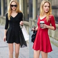New Fashion Women's V-neck Slim Button Dress Mini Skirt High Quality Women Skirt
