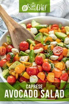 Caprese Avocado Salad is light, refreshing, and super easy to make with all of the flavors of traditional caprese plus avocado for added creaminess. It will be a huge hit at any picnic, potluck, or backyard barbecue! #capreseavocadosalad #salad Vegetarian Recipes Easy, Healthy Recipes, Easy Recipes, Keto Recipes, Dinner Side Dishes, Veggie Side Dishes, Side Dish Recipes, Dinner Recipes, Brunch Recipes
