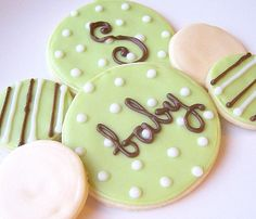 Sugar Cookies Iced Custom Baby Shower Cookie by SugarMeDesserterie, $16.95