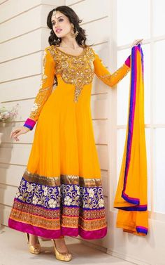 $108.19 Yellow Faux Georgette Zardosi with Stone Work Anarkali Kameez 26289