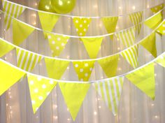 Bright Sunshine Yellow Bunting  Easter, summer, spring, weddings, baby showers. Spots, stripes and ginghams  2 styles available  4 inch gaps between flags contain approx. 38 flags per 10 meters No gaps between flags contain approx. 58 flags per 10 meters  Made using poly cotton and white cotton tape Looped each end for easy hanging Pinked edges to avoid fraying 8 inch flags  We can create bespoke bunting to suit your venue  Made to order in the UK by myself, Norma and my daughter, Lindsey…