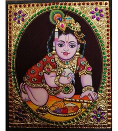 Tanjore Painting of Lord Krishna eating butter