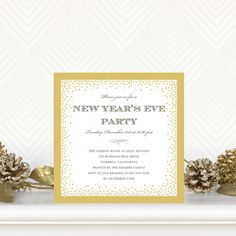 Glowing Dots - Flat Holiday Party Invitations - Hello Little One for Tiny Prints in Dijon Yellow