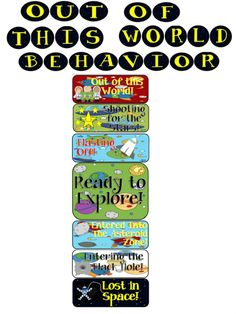 Out of This World Behavior Clip Chart.  Managing your classroom behavior has never been Out of This World! This behavior system promotes positive behavior in the classroom. This pack includes: * Space Themed Clip Chart Behavior System  * Letters for title: Out Of This World * Awards for reaching the top of the chart:2 sets: One award for a girl and one for a boy. Both come in full color or limited color for saving ink. Follow me on TPT for more fun and exciting products and FREEBIES!