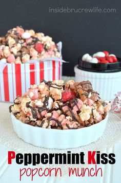 Peppermint Kiss Popcorn on MyRecipeMagic.com is the perfect holiday popcorn to munch on!
