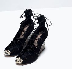 ZARA - SALE - LACE-UP PRINTED LEATHER WEDGE