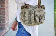 GroopDealz | Vintage Military Style Shoulder Bag - 3 Colors!