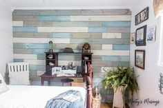 how to diy a plank wall with fence slats and chalk paint for under 100 Chalk Paint Furniture, Kids Furniture, Fence Slats, Fence Art, Deer Fence, Low Fence, Horse Fence, Fence Boards, Pallet Fence