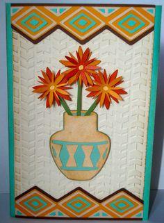 Southwest flower vase card- Southwest cricut cartridge