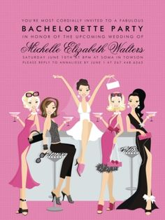 Celebrate the bride-to-be and her last single days! This flat bachelorette party invitation features a pink patterned background. Four African American friends surround the bride-to-be while sipping cocktails at a bar. Bachelorette Party Invitations, Bridal Shower Invitations, Party Favors, Bachelorette Parties, Bachlorette Party, Dinner Invitations, Birthday Invitations, Birthday Wishes, Birthday Ideas
