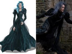 """'Into the Woods,' 2015: For the Witch's costume worn by Meryl Streep, designer Colleen Atwood actually stitched tiny pieces of leather on to chiffon to give her wardrobe a cracked-bark texture. """"When you work with an actress like Meryl, you collaborate on what she is actually going to be doing in the costume,"""" Atwood explains. """"The movement is part of her character, and early on she knew that as the Witch she was going to be crouched down and have a stance that was almost like a spider."""""""