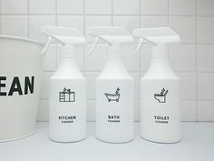 スプレーボトル・アイコンラベルセット[詰め替えボトル・詰め替え容器・白・ホワイト・ボトル・スプレー・消臭剤・ラベル]