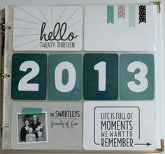 "Project Life 2013: the title page-love the washi tape banners and the stitching on the ""hello"" card."